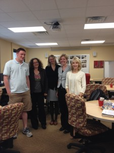 Visitors from European University Viadrina - (l-r) UWM Asst. Coord. Josh Worsham, Petra Weber, Head of International Office, Nicole Kleuck, Coordinator for Social and Cultural Sciences faculty, Dr. Katrin Girgensohn, Writing Center Director and Chair of the European Writing Center Assn, and Margaret Mika, UW-Milwaukee Center Director